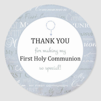 Pegatina Redonda Thank you for coming Boy First Holy communion tag