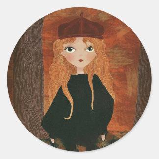 "Pegatina Redonda ""The Autumn Girl"" Sticker"
