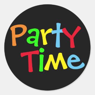 Pegatina Redonda Tiempo del fiesta