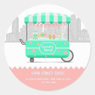 Pegatina Redonda Tienda del caramelo de la calle de la comida