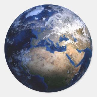 Pegatina Redonda Tierra azul del mundo inspirado del globo del