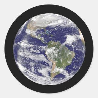 Pegatina Redonda Tierra del planeta en globo fotográfico del