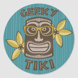 Pegatina Redonda Tiki Geeky