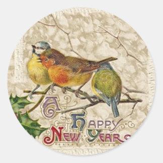 Pegatina Redonda Tipografía de la Feliz Año Nuevo de los pájaros