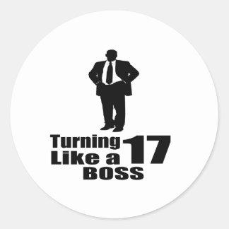 Pegatina Redonda Torneado de 17 como Boss