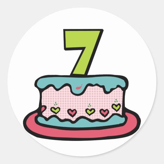 Pegatina Redonda Torta de cumpleaños de 7 años