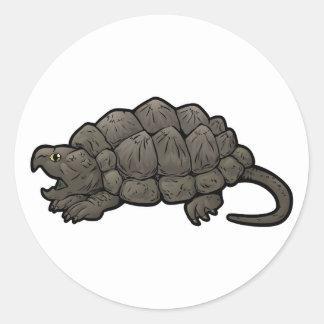 Pegatina Redonda Tortuga de rotura de cocodrilo