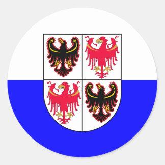 Pegatina Redonda Trentino-Sur bandera del Tyrol, Italia