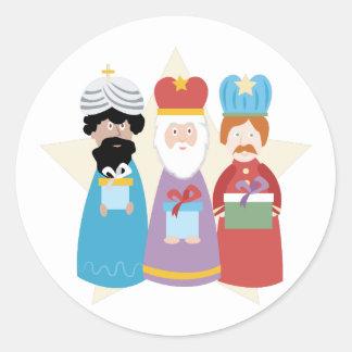 Pegatina Redonda Tres hombres sabios