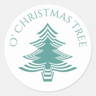 Pegatina Redonda Trullo geométrico y blanco del árbol de navidad de