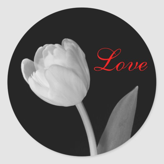 Pegatina Redonda Tulipán Blanco Y Negro Amor Zazzlees
