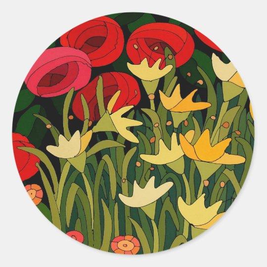 Pegatina Redonda Tulips and Roses
