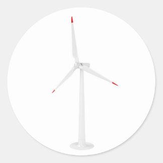 Pegatina Redonda Turbina de viento moderna