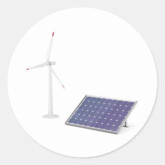 Pegatina Redonda Turbina de viento y el panel solar