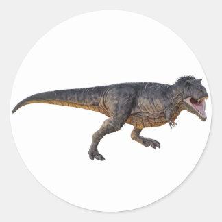 Pegatina Redonda Tyrannosaurus-Rex con el colorante amarillo