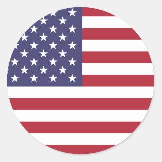 Pegatina Redonda U.S.A. Bandera