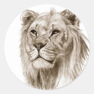 Pegatina Redonda Un león - sin arte del bosquejo del dibujo del