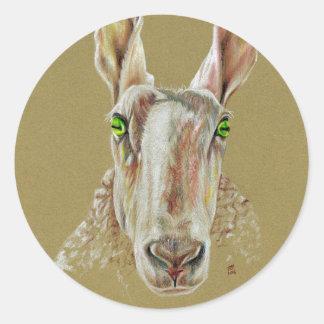 Pegatina Redonda Un retrato de una oveja