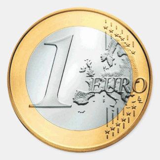 Pegatina Redonda Una moneda euro (paquete de 6/20)