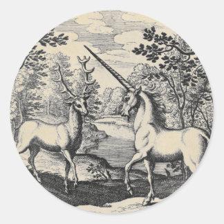 Pegatina Redonda Unicornio y macho