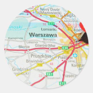 Pegatina Redonda Varsovia, Varsovia en Polonia