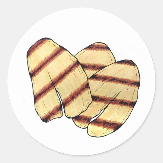 Pegatina Redonda Vegetariano de queso parrillado Fried Cyprus Hallo