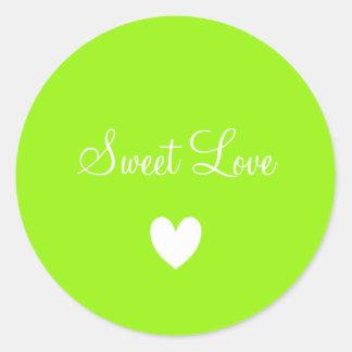Pegatina Redonda Verde blanco lindo del corazón del amor