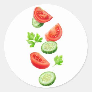 Pegatina Redonda Verduras del vuelo
