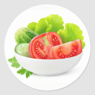 Pegatina Redonda Verduras en un cuenco