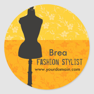 Pegatina Redonda Vestido profesional de la costurera del estilista
