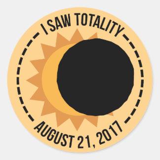Pegatina Redonda Vi a los pegatinas del eclipse solar 2017 de la