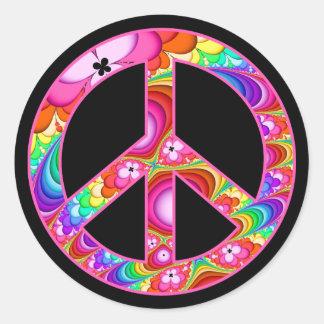 Pegatina Redonda Viaje maravilloso del fractal del signo de la paz