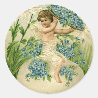 Pegatina Redonda Viejos saludos antiguos de Pascua del vintage
