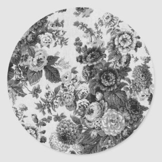 Pegatina Redonda Vintage gris negro y blanco Toile floral No.3 del