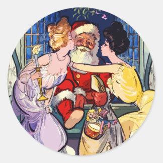 Pegatina Redonda Vintage Papá Noel