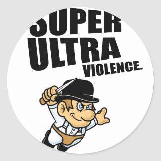 Pegatina Redonda violencia estupenda del dibujo animado ultra