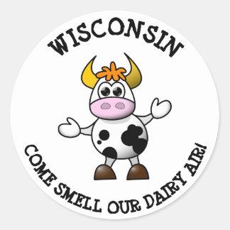 Pegatina Redonda Wisconsin viene olor nuestros pegatinas divertidos