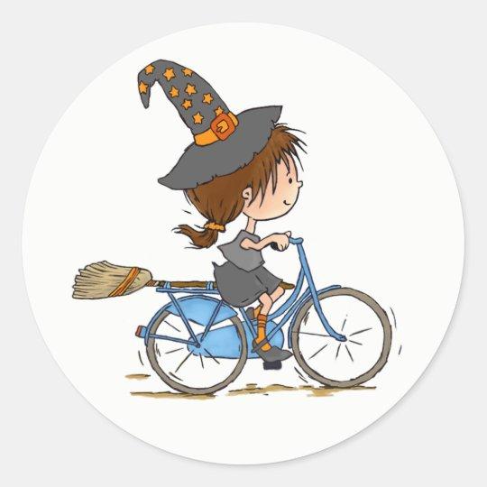 Pegatina Redonda Witch in bike - sticker