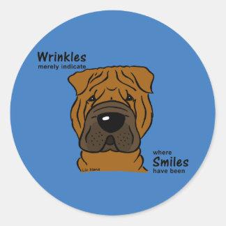 Pegatina Redonda Wrinkles merely indicate smiles