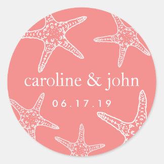 Pegatina Redonda Y blancas boda personalizado estrellas de mar