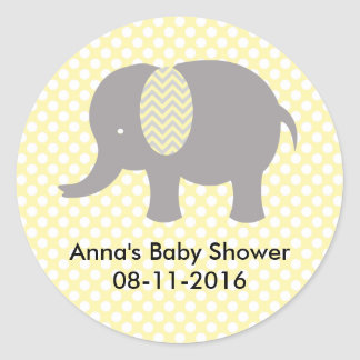 Pegatina Redonda Yellow and gray Elephant Baby SHower