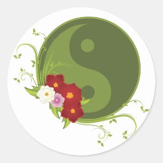 Pegatina Redonda Yin Yang y flores