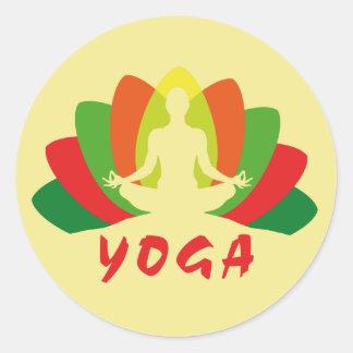 Pegatina Redonda Yoga Flor de Loto