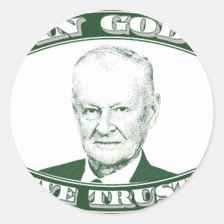 Pegatina Redonda Zbigniew Brzezinski en dios que confiamos en