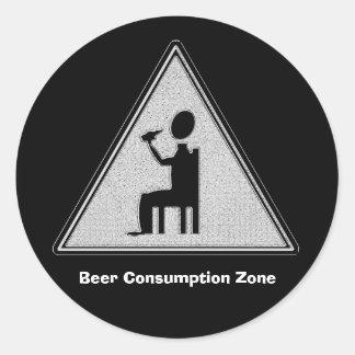 Pegatina Redonda Zona del consumo de la cerveza