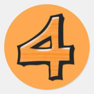 Pegatina redondo anaranjado del número 4 tontos