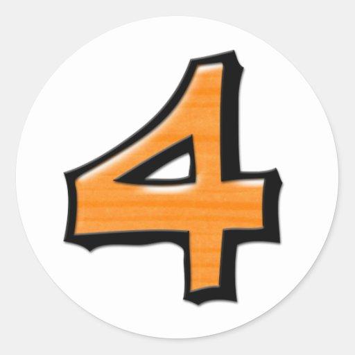 Pegatina redondo blanco anaranjado del número 4 to