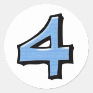 Pegatina redondo blanco azul del número 4 tontos