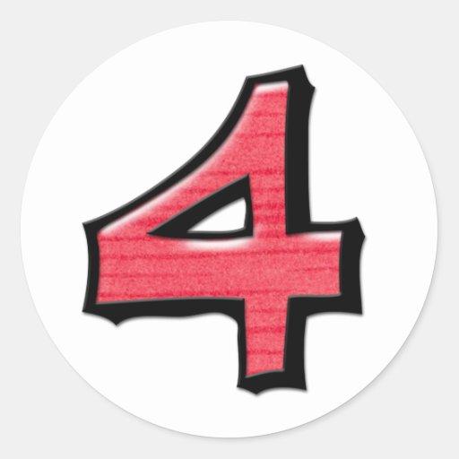 Pegatina redondo blanco rojo del número 4 tontos