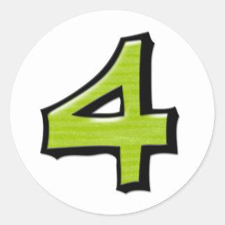 Pegatina redondo blanco verde del número 4 tontos